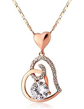 Herz-Halskette Swarovski-Kristallen La vivacità Designer 18ct Rose vergoldet Geschenk für Frauen