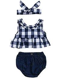 3 Unids Baby Girls Grid T-Shirt + Jeans + Diadema Conjunto, Casual Beach