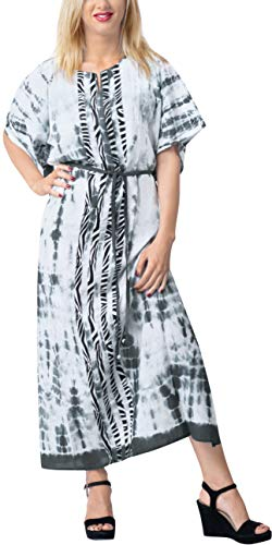 LA LEELA Frauen Damen Rayon Kaftan Tunika Tie Dye Kimono freie Größe Lange Maxi Party Kleid für Loungewear Urlaub Nachtwäsche Strand jeden Tag Kleider Schwarz_X737 - Tie-dye-tunika