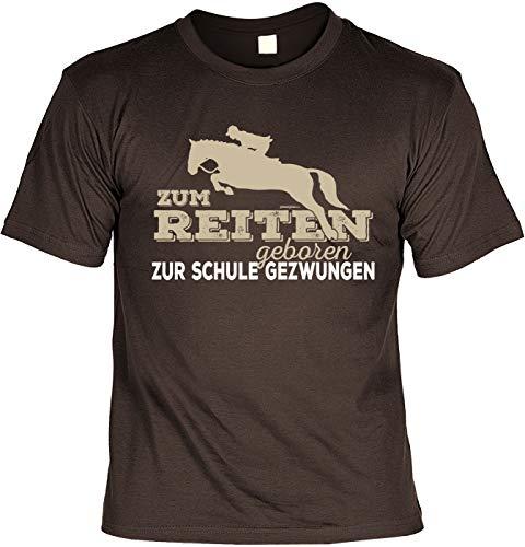 Reiter - Schüler Sprüche T-Shirt - Pferde Motiv Tshirt : Zum Reiten geboren zur Schule gezwungen - Pferdeshirt - REIT-Sport Bekleidung Gr: M