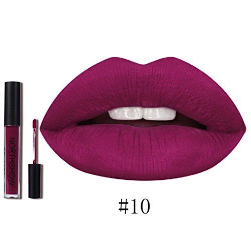 Rouge à Lèvres, Tefamore Nouveau Rouge à Lèvres Longue Durée Imperméable à L'Eau Mat Liquide Lip Gloss Lip Liner cosmétiques (10#)