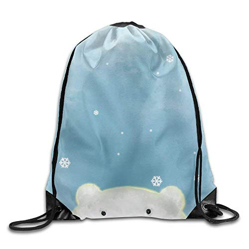WSTREE Illustration Drawing of White Polar Bear Over Blue Painting Grunge Background with Snow Flakes School Gym Backpack -