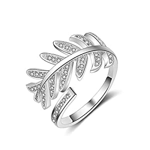 Chandler Rhinestones Leaf Open Rings for Women Girls Silver Color Zinc Alloy Adjustable Engagement Wedding Party Female Ring Jewelry