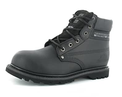 Mens / Womens Leather Upper, Steel Toe, Safety Boots with Oil Resistant, Shock Absorption and Slip Resistant Sole - SK21GW