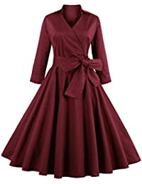 ZAFUL Robe Vintage années 1950 's Style Audrey Hepburn Rockabilly Swing Manches Longues Robe de Soirée Cocktail Rétro Grande Taille A-line Col V