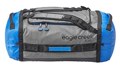 Eagle Creek Wasserabweisender Backpacker Cargo Hauler Duffel ultraleichte Reisetasche mit Rucksacktragegurte, 90 L, blue/grey (Gear Duffle)