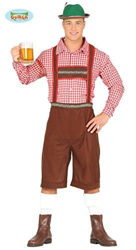 Preisvergleich Produktbild Tiroler Lederhose Hemd Kostüm für Herren Karneval Fasching Oktoberfest Bayern Gr. M / L,  Größe:L