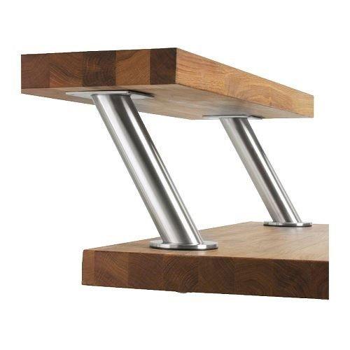 Arbeitsplatte Bar (Ikea IKE-400.511.96 Capita Barkonsole 2er Set schräg Konsole Edelstahl Baraufbau Tresen Bar Aufsatz Stützen)