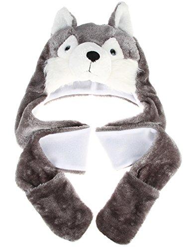 DEMU Tiermütze Wintermütze Hut Kopfbedeckung Kostüm Karneval Winter Warm Ohrenklappe Hund