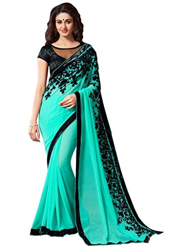 Jay Sarees Faux Georgette Saree With Blouse Piece (Jcsari2910-1807Aa_Turquoise_Free Size)