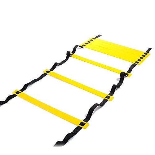 4M 4M Agility Ladder Speed Ladder für Fußball Speed Training, Hopping, Running Fitness Feet Training zur Erhöhung der Geschwindigkeit, Koordination und Sense of Balance (8-Rung) -