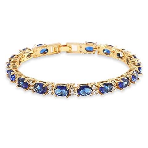 GULICX Gold Electroplated Bangle Roman Tennis Bracelet Sparkling Sapphire Color Blue Cubic Zirconia