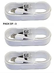 Rebel Pack of Three ( 3 ) 1 Meter / 4 Feet White High Quality round shape Micro USB Data Sync Charging Cables for Samsung Galaxy S5 CDMA and many other android smart phones. Non-Retail Packaging - White Color ( Pack of Three Cables )
