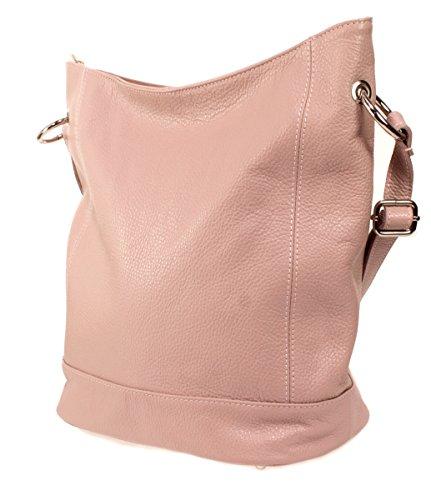 Ital. Echt Leder Damen Tasche Schultertasche Ledertasche Umhängetasche (silber) rosa