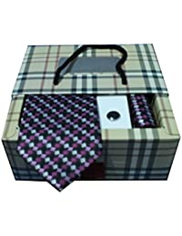 Riyasat - Geometrical Design Multi Color Micro Fibre Men,s Tie, Cufflink and Pocket Square Gift Set .(S_ 124)