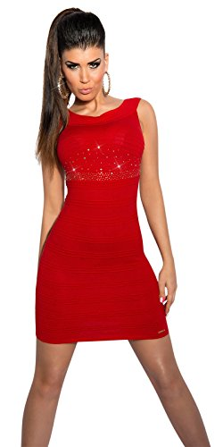 Damen figurbetontes ärmelloses Trägerkleid Minikleid Kleid Dress aus weichem Stretch Material in Rippoptik mit Nieten und Strass Rot
