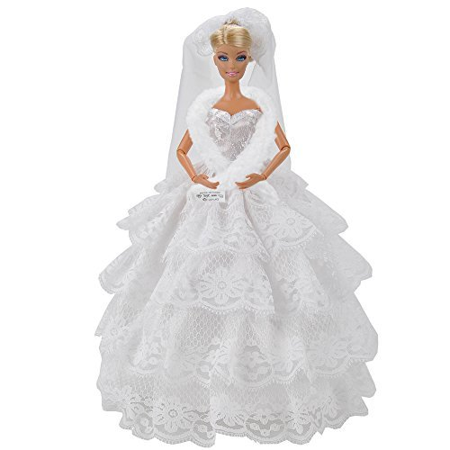E-TING Fashion Handmade Wedding Evening Party Dress Clothes Gown Veil For Barbie Dolls