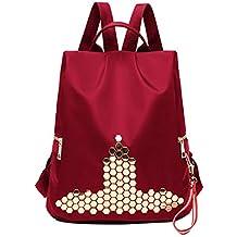 Luckycat Mochila para mujer, Damas con estilo Mochila de nylon impermeable Remache Bolsos escolares Antirrobo