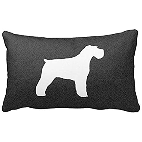 Onemaker Schnauzer Silhouette (Natural Ears) Pillow Cover