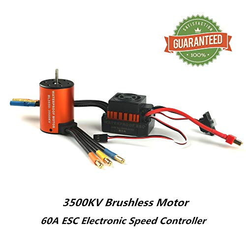 Crazepony-UK 3650 3500KV Brushless Motor Combo with 60A ESC Electronic Speed Controller Waterproof Combo Set Shaft 3.175MM for 1/10 RC Car Truck