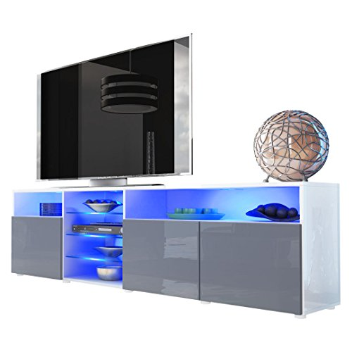 Meuble TV bas Granada V2, Corps en Blanc en haute brillance/Façades en Gris haute brillance