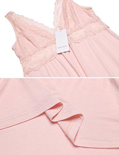 Ekouaer Damen V-Ausschnitt Negligee Sexy Nachthemd Ärmellos Nachtwäsche mit Rücken aus Spitze Kurz Negligee Nachtkleid Sleepshirt Dessous Rosa513