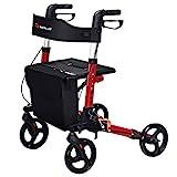 COSTWAY Folding Rollator Walker with Seat & Backrest | Transport Chair, Adjustable Height