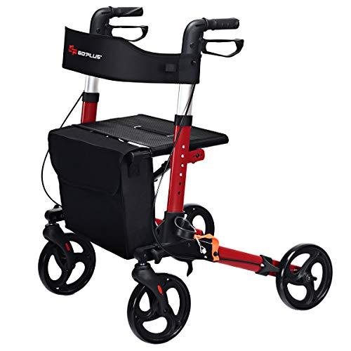 Costway With SeatTransport ChairDual Lightweight Aids Walker BrakeAdjustable Height4 Folding Safety Mobility Rollator Wheels OZuPkXi