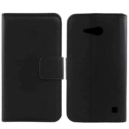 Gukas Design Echt Leder Tasche Für Nokia Lumia 730 Hülle Handy Flip Brieftasche mit Kartenfächer Schutz Protektiv Genuine Premium Case Cover Etui Skin (Schwarz)