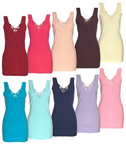 Trägerunterhemd Spitze Damen Übergröße Shirt Basictop stylenmore Rosa