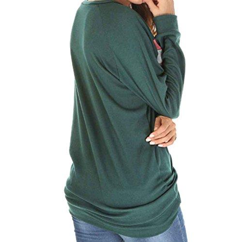 Minzhi Felpa da donna casual girocollo a manica lunga con scollo a V, manica lunga ampia Verde