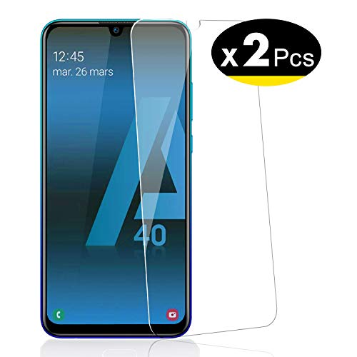 NEW'C Lot de 2, Verre Trempé pour Samsung Galaxy A40, Film Protection écran - Anti Rayures - sans Bulles d'air -Ultra Résistant (0,33mm HD Ultra Transparent) Dureté 9H Glass