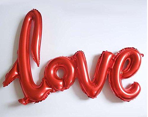 """DekoRex® """"love"""" Folienballon Luftballons Schriftzug ca. 100cm rot"""