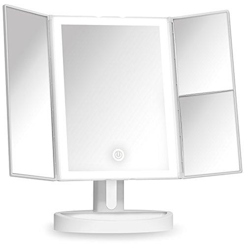 Fancii Espejo Maquillaje con Luz y Aumento 5x y 10x, Espejo de Mesa Cosmético con 34 Luces LED Naturales Regulables, Pantalla Táctil, USB o Batería y Soporte Ajustable