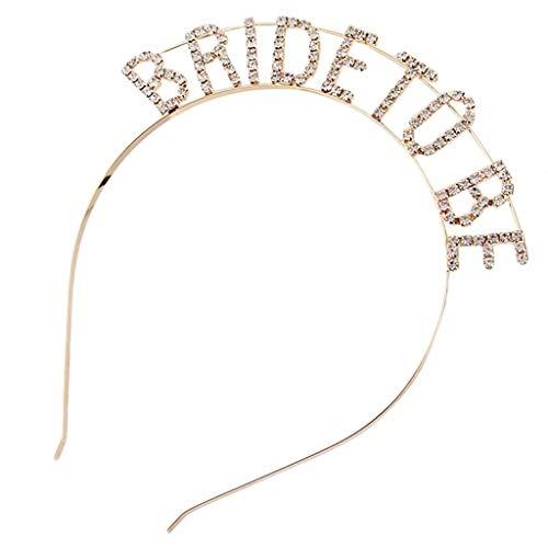 Meiqqm Haarreif für Hochzeiten, Metalllegierung, Glitzer, Strass, hohl, Buchstaben, Brautjungfer, Brautjungfer, Brautparty, Bachelorette