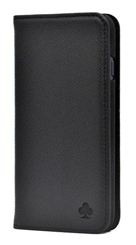 Porter Riley - Coque pour iPhone X/iPhone XS. Housse Premium en Cuir véritable avec Socle Rabattable/Coque/Etui/Portefeuille (Noir Pur)