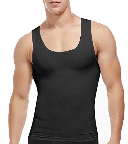 chweg Shirt Shapewear Figurformende Unterhemd Body Shaper Kompression Tank Top Slimming Weste Miederbody Unterwäsche für Männer in weiß o. schwarz ()