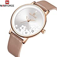 Naviforce Women's White Dial PU Leather Chronograph Watch - NF5012-R
