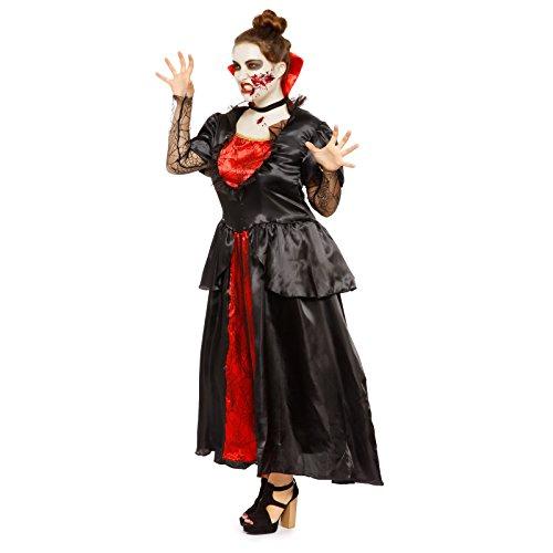 Gothic Kostüme Erwachsene Vampirin (Mittelalterkleid Vampirkostuem Damen Graefin Kostuem Barock Kleid Vampirin Halloween Spitze Damenkostuem Vampir)