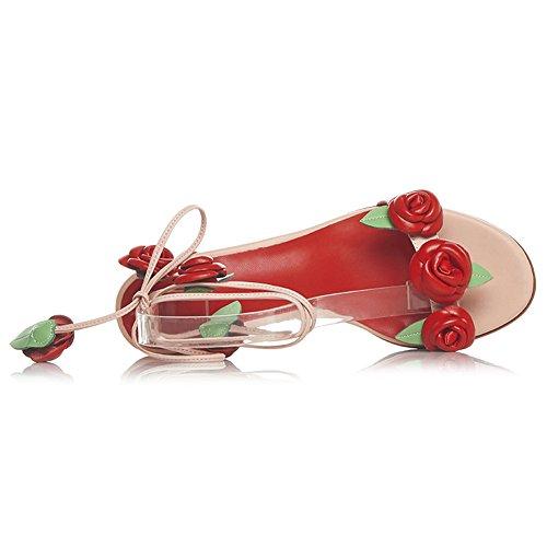 Damen Sandalen Open Toe Kuhleder Rose Blumen Knöchelriemchen Slingback Pink