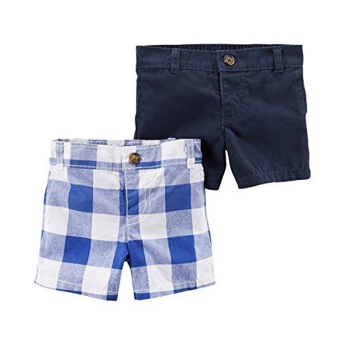 CARTER´S 2er-Pack Shorts Karo blau 62 (Carters Baby-tasche)