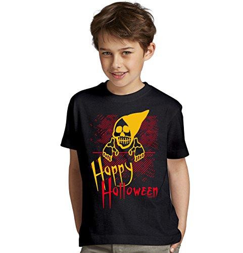 iges Kostüm Sprüche-Fun-T-Shirt - Outfit Verkleidung für Kinder Jungen Teenager Super Geschenk-Idee Farbe: schwarz Gr: 152/164 (Happy Halloween-gruseliges Gesicht)