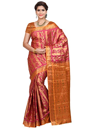 Mimosa Women's Traditional Art Silk Saree Kanjivaram Style With Blouse Color:Rani(3348-79-DC-RD-RNI-GLD )  available at amazon for Rs.1399