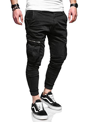 MT Styles Herren Cargo Chinohose Jeans Hose JN-3545 [Schwarz, W32/L32] (Jeans Cargo Stil,)