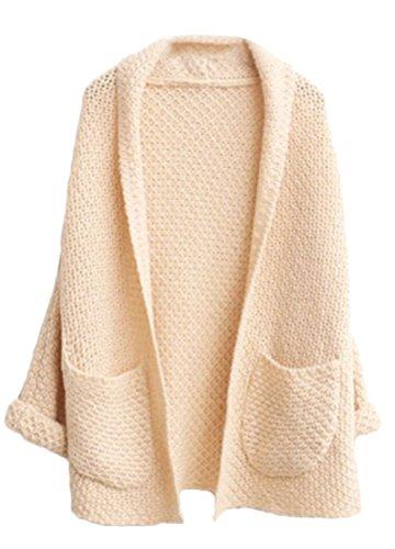 MILEEO Femme Cardigan en tricot manches relevés lâche gros chauve-souris manteau pulls avec deux poche Beige
