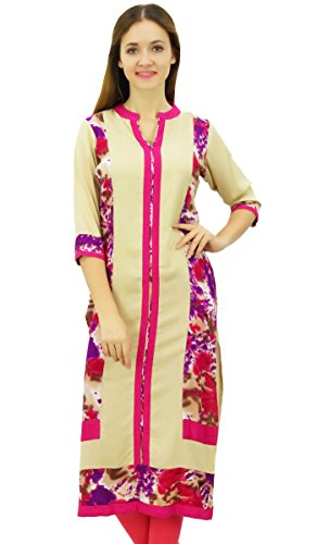 Phagun Droit Indian Rayon Kurta Beige Casual Tunique Ethnique De Femmes Kurti...