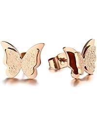 ASWEFV Cz Pendientes De Mariposa Stud para Mujer Oro Y Oro Rosa Color Acero Inoxidable Encanto Moda Mujer Esmerilado Oreja Stud PendientesOro Rosa