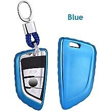Custodia di alta qualità in plastica morbida auto chiave/supporto–Accessori universali, chiave della vettura di porta telecomando Fob con portachiavi per BMW serie 52018New X5X6X11Series/2Series Coach New 7series, Blue, L=8cm W=4cm Thickness=1.7cm