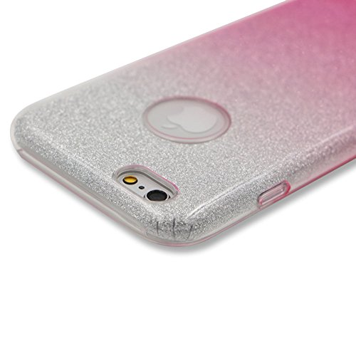 Custodia per iPhone 6S PlUS, Case Cover per iPhone 6S PlUS 5.5, [ Soft TPU + Glitter Paper + Hard PC ] 3 in 1 Hybrid Layers Protection Back Cover, Silm Thin (Verde) Skin Cases per Apple iPhone 6S PlU Rosa
