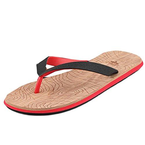Fulltime®Hommes Beach Summer Flip Flops Chaussures Sandales Zipper Flip-flops Rouge
